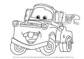 learn how to draw tow mater from cars cars step by step drawing tutorials