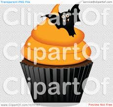 3d halloween background clipart 3d halloween cupcake with a bat royalty free vector