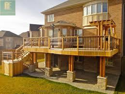walk out basements cedar deck with walkout basement and pergola traditional deck