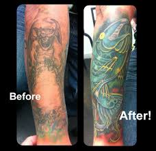 biomechanical robot trout coverup tattoo by steve malley tattoonow