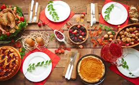high angle view of table served for thanksgiving dinner with