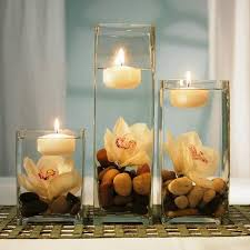 table decorations with candles and flowers glass centerpieces with floating candles with fresh white flowers