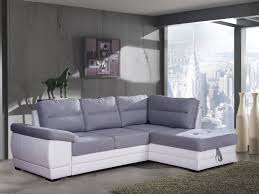 canape angle tissus canapé d angle convertible contemporain en tissu gris pu blanc