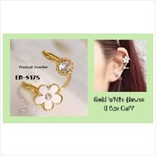 jual ear cuff white gold earring price harga in malaysia