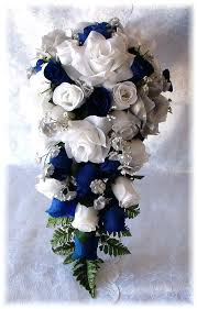 wedding flowers blue and white blue white and silver wedding bouquets blue white silver cascade
