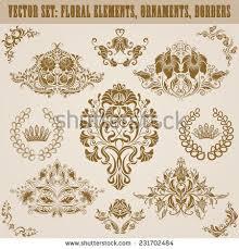 set vector damask ornaments handdrawn patterns stock vector