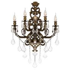 Large Wall Sconces Lighting French Royal 3 Light Flemish Brass Finish Crystal Candle Wall