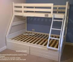 Cosmos White Three Sleeper Bunk Bed Sleepland Beds - Three sleeper bunk bed