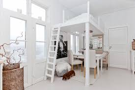Dining Table Bed This Loft Bed With Glass Railings Lets The Light Through Living
