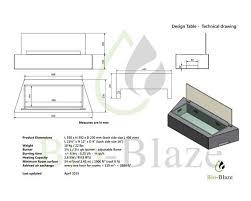 Fireplace Insert Dimensions by Bio Blaze Design Table Ethanol Fireplace Insert