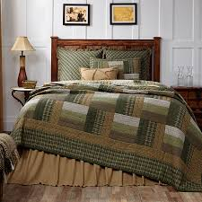 new country rustic log cabin quilt olive green tan brown queen