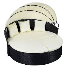 outdoor patio rattan round retractable canopy daybed sunloungers