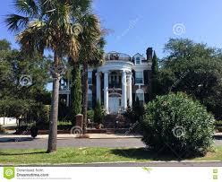 southern colonial house historic homes on murray blvd charleston sc editorial image