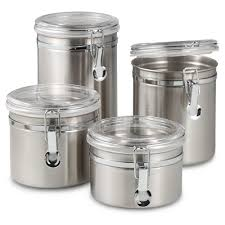 oggi airtight stainless steel canisters with acrylic tops set of