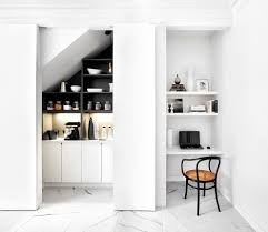 alcove desk ideas kitchen contemporary with pivot doors floating