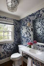 blue and silver powder rooms design ideas