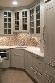 cool black color wooden kitchen corner cabinets featuring l shape