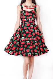 hepburn 50s pinup vintage dress cherry strawberry yellow peach
