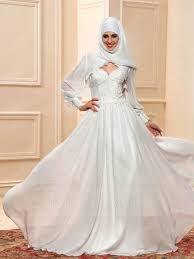 wedding dress muslim sweetheart neckline applique a line floor length muslim