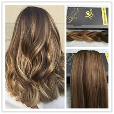 Foxy Clip In Hair Extensions by 6a Balayage Brown With Blond Dip Dye Remy Thick Clip In Human Hair