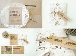 rustic romance wedding invitations doily kraft paper invitation