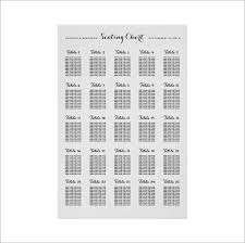 Wedding Seating Chart Template Number Chart Template Bill Payment Schedule Template Free Weekly
