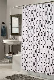 Hookless Shower Curtain White Black Fabric Hookless Shower Curtain