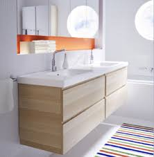 Wood Bathroom Vanities Cabinets by Recessed Shelf Above Sink Striped Rug Decor Paired With Wooden