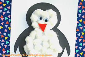 cotton ball penguin kid craft