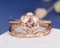 morganite bridal set unique morganite bridal set engagement ring gold flower
