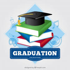 graduation books colored background with books and graduation cap vector free