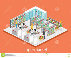 isometric interior of grocery store shopping mall flat 3d