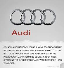 audi car company name audi how brands got their names logos from designtaxi