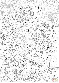 cute sea turtle in coral reef coloring page free printable
