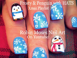 easy christmas nails diy snowman u0026 penguin with hats nail art