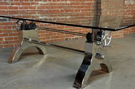 industrial glass dining table hure crank table vintage industrial furniture vintage industrial
