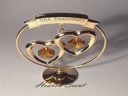50th anniversary gold plate 50th golden wedding anniversary gift ideas gold plated swarovski