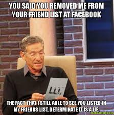 Facebook Friends Meme - you said you removed me from your friend list at facebook the fact