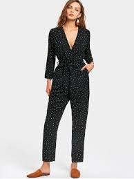 s jumpsuits polka dot print sleeve jumpsuit black jumpsuits rompers s