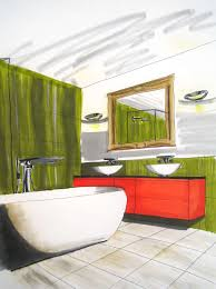 interior design course student drawings from freehand perspective drawing for designers