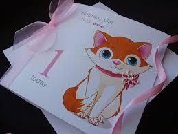 cute cat birthday card handmade cards pink u0026 posh