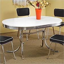 Coaster Dining Room Sets Amazon Com Coaster Retro Round Dining Kitchen Table In Chrome
