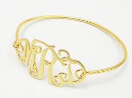 monogram bracelet gold bright and modern monogram bracelet gold initial bangle bridesmaid