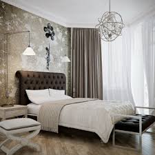 Black Upholstered Headboard Bedroom Interior Fascinating Black Golden Pattern Sheets In