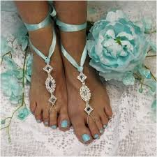 barefoot sandals wedding enchanted barefoot sandals blue wedding foot jewelry