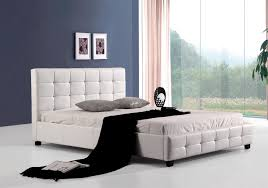 queen pu leather bed frame white graysonline