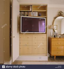 London Flat Interior Design Flat Screen Tv In Cupboard In London Flat With Interior Design By