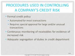 Formal Credit Policy Chapter 9 Auditing The Revenue Cycle Ppt