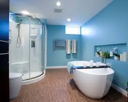 blue modern bathroom with glass shower box design ideas five idolza