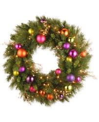 battery lighted fall garland national tree company 30 kaleidoscope wreath with ornaments 70
